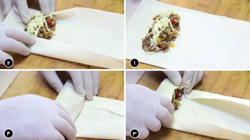 مراحل پیچیدن مواد میانی بورک در خمیر یوفکا