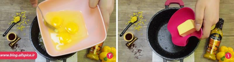 مرحله پختن تخم مرغ با کره در دستور پخت غذای شمالی