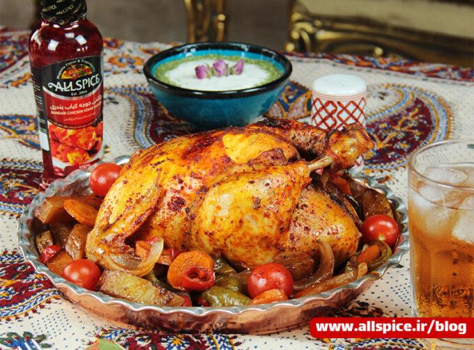 مرغ شکم پر تهیه شده با چاشنی بندری