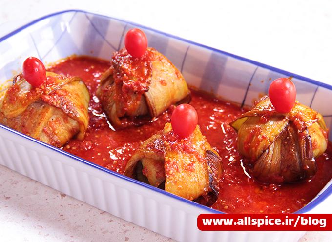 بقچه بادمجان خوشمزه تهیه شده با چاشنی گوشت آلس پایس